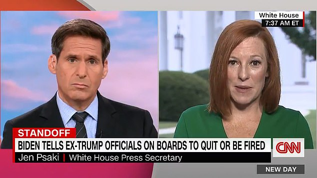 White House Press Secretary said Thursday that the administration's decision to ask for the resignation of all Trump-appointees on the military academy advisory boards is because they 'stood silent' as the former president's supporters attempted insurrection