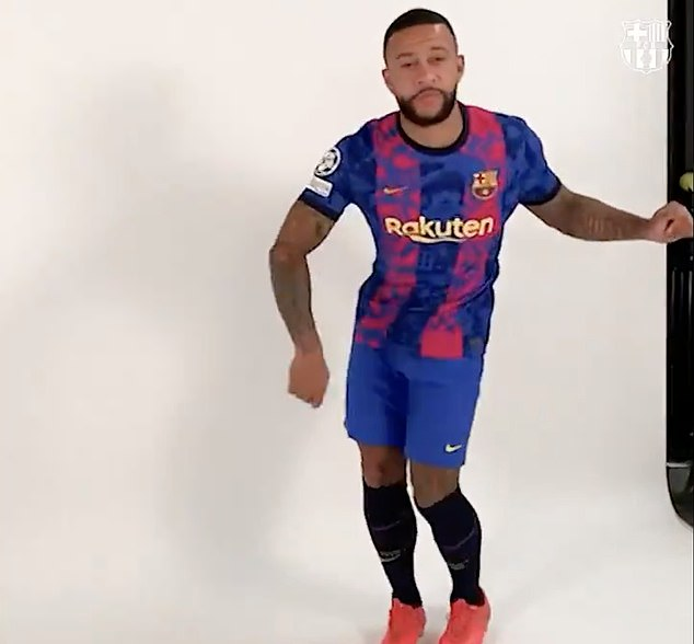 The Dutchman was seen dancing in the new jersey during a promotional video posted by Barca
