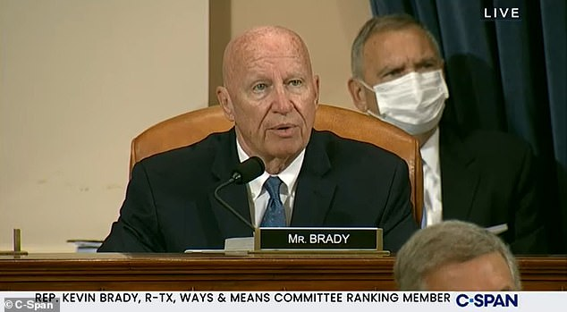 Top Republican on the committee Rep. Kevin Brady (R-Texas) used his opening remarks Thursday to complain that the 'The mightiest nation on earth just surrendered to terrorists' in Afghanistan