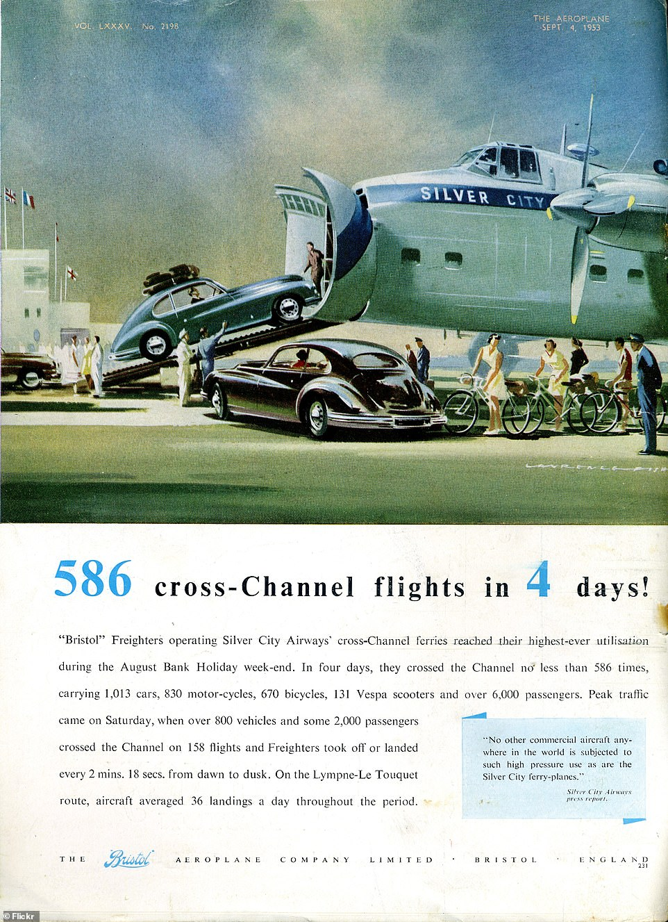 A Silver City Airways advert for the Bristol Freighter on the back of a September 1953 issue of 'The Aeroplane' magazine