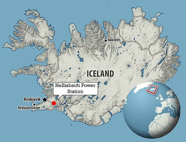 The machine launched on Wednesday at the Hellisheiði Power Station, Iceland, which is south-east of the country's capitalReykjavík