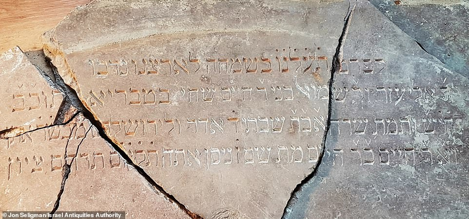 Teams are using ground-penetrating radar to pin-point precise remains of the Great Synagogue since excavations began in 2015.Most impressively was the discovery of a priceless Hebrew stone inscription (pictured) in 2019 that dates back to 1796