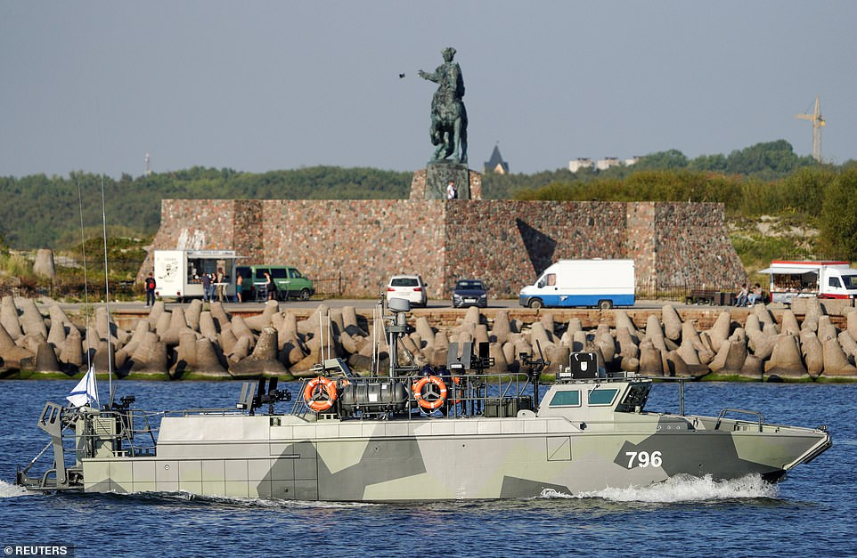A Russian military vessel sails ahead of naval drills near the Baltic Sea town of Baltiysk in the Kaliningrad Region