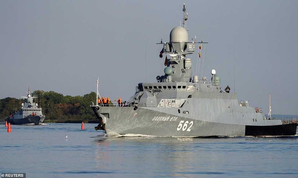 Officials said the exercises do not envisage specific countries as adversaries, but called the drills, which will include at least 15 naval ships (pictured, warships Zelenyi Dol and Mytishchi leaving port on Thursday), a 'signal' to the West