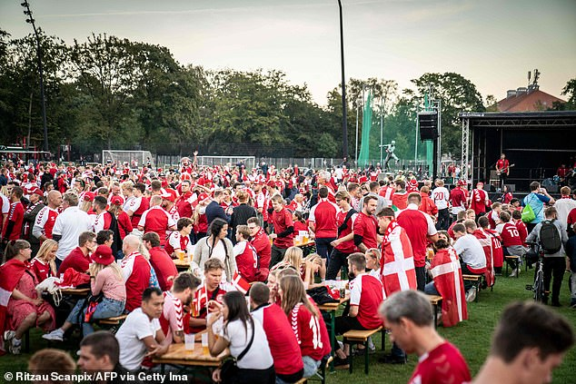 Pictured: Hundreds of maskless Denmark football fans crowd onto benches to watch the World Cup qualifier match on Tuesday
