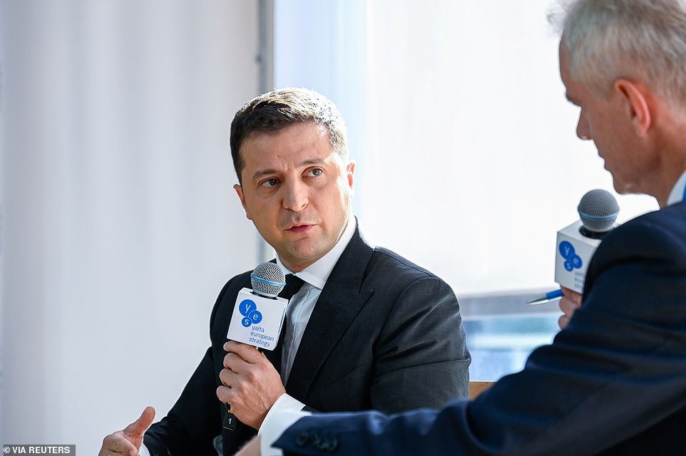 When asked at the Yalta European Strategy (YES) summit if there could really be all out-war with Russia, Zelenskiy said: 'I think there can be. It's the worst thing that could happen, but unfortunately there is that possibility,' he added, speaking in Ukrainian. Kyiv says the conflict in eastern Ukraine has killed 14,000 people since 2014.