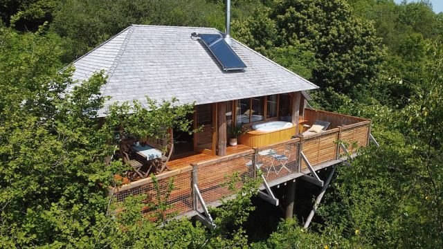 NO.3. WOLF WOOD TREEHOUSES, BRATTON CLOVELLY, DEVON: This collection of treehouses sits in the canopy of a13-acre stretch of deciduous woodland. The average cost for a night's stay is £285 and, although each treehouse is different, facilities include outdoor hot tubs, side-by-side baths on the decks and indoor roll-top baths