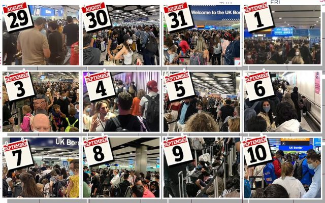 Heathrow's queuing chaos is now into its 12th day. This graphic shows images of the queues from each of the days mentioned