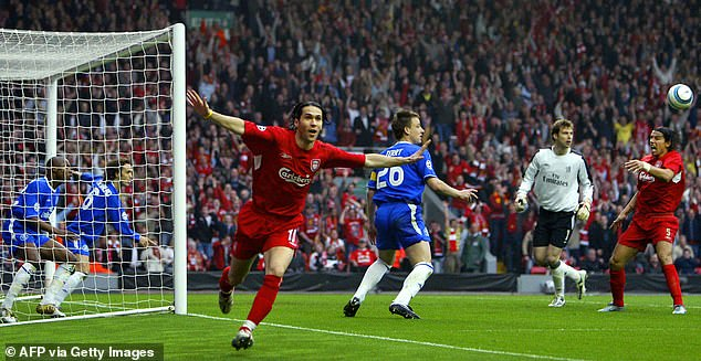 Mourinho's Chelsea side were knocked out of the Champions League by Liverpool due to what he called a 'ghost goal' by Luis Garcia (centre), which may or may not have crossed the line