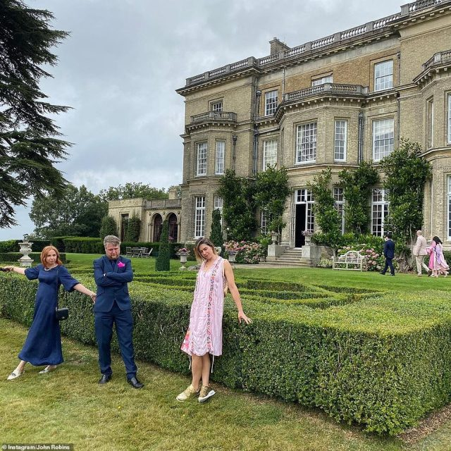 Idyllic: Ed and Charlie wed at a stately home, with guests kicking back in the lavish grounds (pictured above L-R: Rachel Horne, Tim Key, Loulie Sanders)