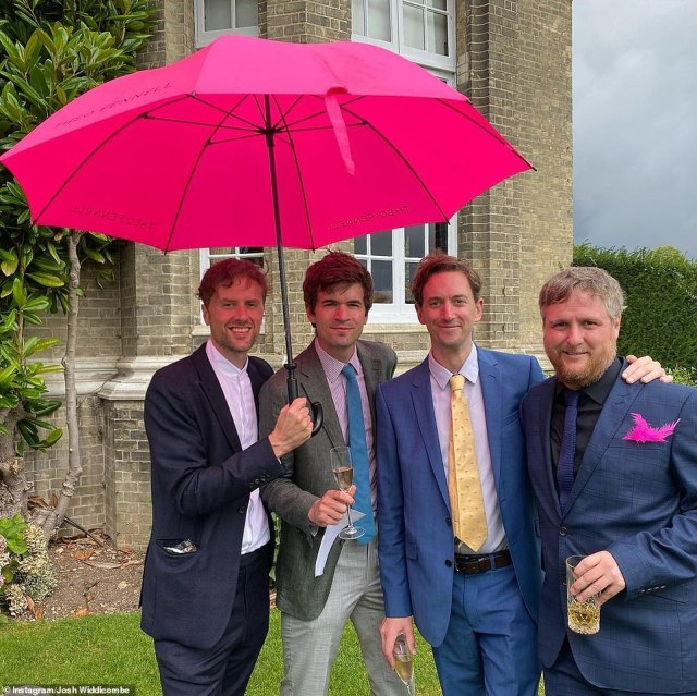 Laugh a minute: Comedian John Robins gave fans a glimpse into Ed's special day, sharing snaps of the guests as they enjoyed a champagne reception including Tim Key (pictured far R)