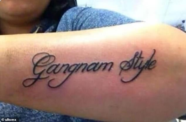 While the song 'Gangnam style' by PSY was a catchy hit at the time of release, eight years later, this tattoo doesn't quite pack the punch it once did