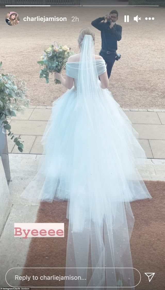 Beautiful: Charlie gave fans a better look at her dress as she shared snaps from the big day to Instagram the morning after the couple's wedding