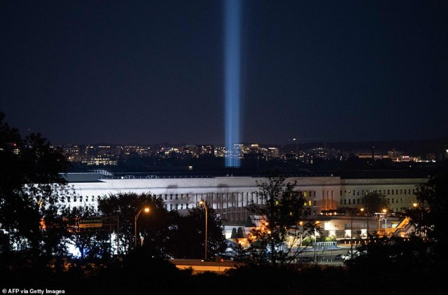 The Tower of Light illuminates the sky over Arlington, Virginia on Sept. 9, 2021.