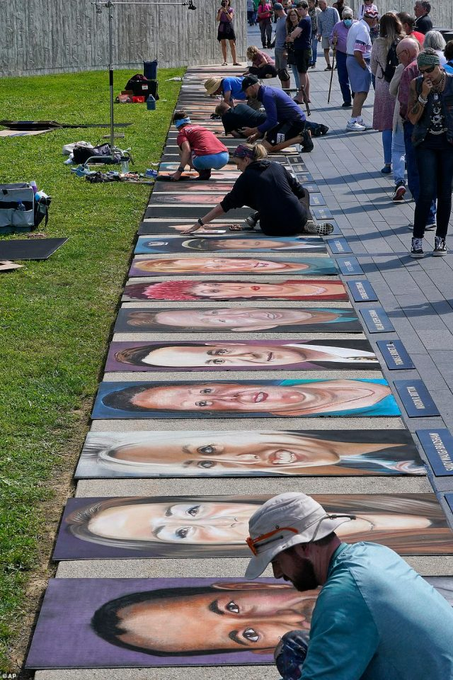 A group of 11 chalk artists from around the country worked for two days on the portraits of the forty passengers and crew who perished in the crash of Flight 93 on Sept. 11, 2001. The portraits are on displayalong the flight path leading to the Flight 93 National Memorial