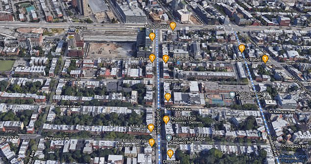 The intersection is in the Brooklyn neighborhood of Prospect Heights