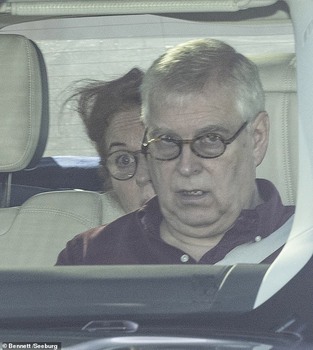 Prince Andrew with his ex-wife Sarah Ferguson leaving Windsor to drive to the Queen's Balmoral estate in Scotland Wednesday