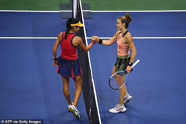 Defeated semi-finalist Maria Sakkari (right) said Raducanu 'plays fearlessly' and 'absolutely goes for it'