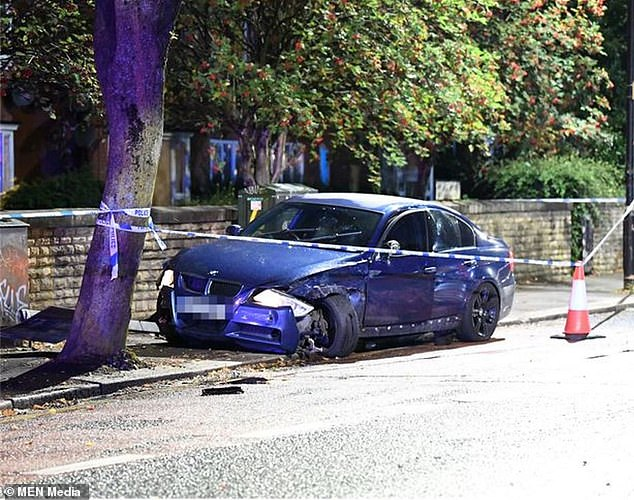 He is believed to have been fleeing his pursuers along with three friends in a BMW, only for it to crash