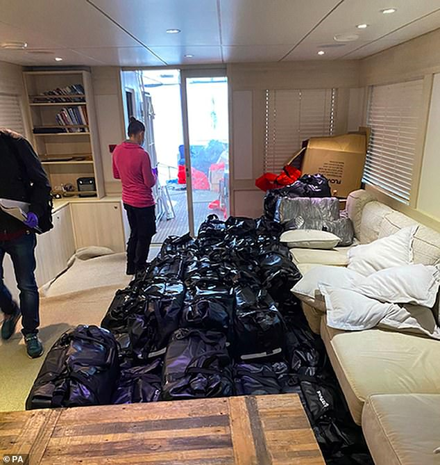NCA deputy director Matt Horne said: 'There's no doubt these drugs would have been sold on into communities across the UK in such ways as County Lines fuelling more crime and misery' (Pictured: Drugs stashed in sports bags onboard Kahu yacht)