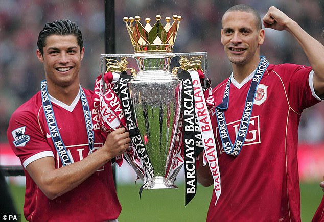 The pair celebrate after Manchester United won the Premier League title in 2006-07