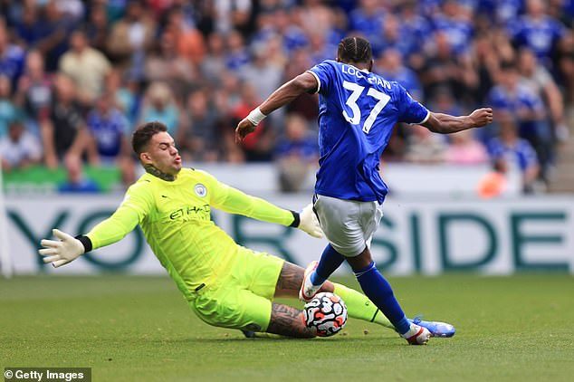 Ederson's brave late save from Ademola Lookman helped Manchester City defeat Leicester