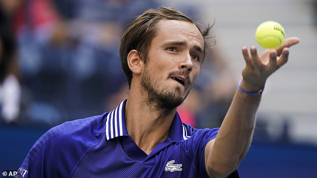His opponent at Flushing Meadows will be the gangly 6ft6 Russian Daniil Medvedev (above)