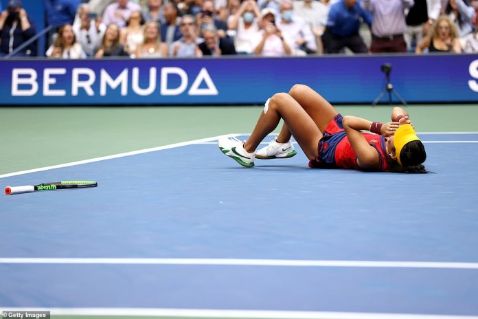 Emma Raducanu fell to the ground and put her hands over her face after beating the Canadian 6-4, 6-3, in front of 24,000 at the Arthur Ashe Stadium in New York.