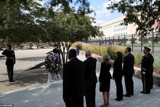Biden, First Lady Jill Biden, Vice President Kamala Harris and Second Gentleman Doug Emhoff lay a wreath at the Pentagon