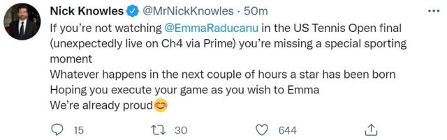 TV presenter Nick Knowles, pictured, said that people who were not watching the game were 'missing a special sporting moment'