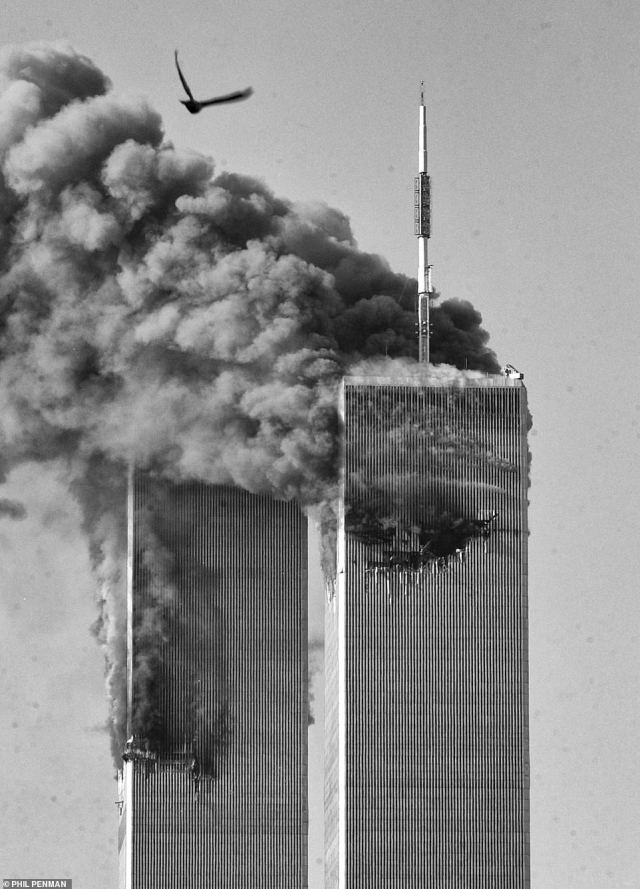 Dark flames and thick smoke pour from the Twin Towers after they were both hit by hijacked planes on 9/11. Capestro said it has taken time for her to deal with the trauma of her escape from the 87th floor, running out of the tower to see 'all the jumpers, the blood all over, the dead people' before the South Tower then crashed down around her