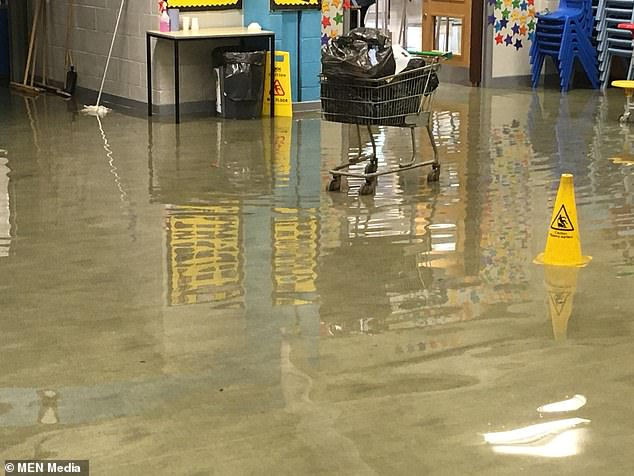 Russell Scott Primary School in Denton, Greater Manchester, has seen its classrooms flooded with raw sewage