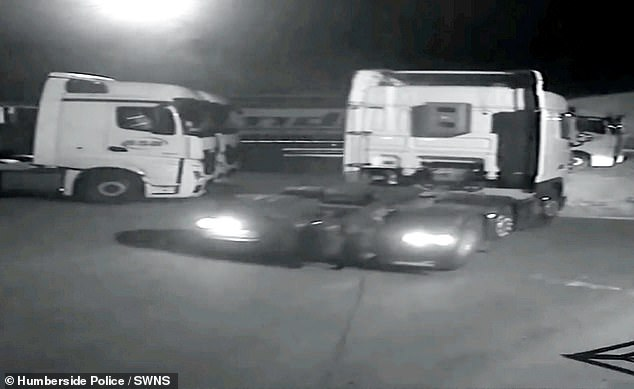 In the footage a third man is seen driving a white lorry cab, thought to have been stolen and using false plates, and smashes through the barrier