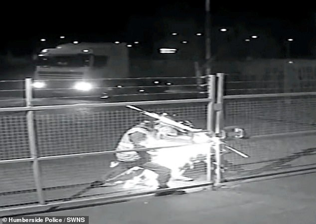 CCTV footage shows two men breaking through a gate with an angle grinder before driving away with £25,000 of mouthwash and chewing gum from alocked compound in Stallingborough, Lincolnshire