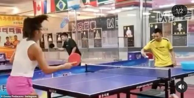 While she may be the biggest tennis star in Britain at the moment, in China Emma was also known for her ping pong skills - the country's national sport