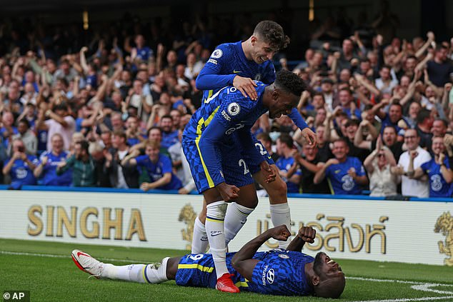 The Chelsea players mobbed Lukaku after scoring his second league goal of the season