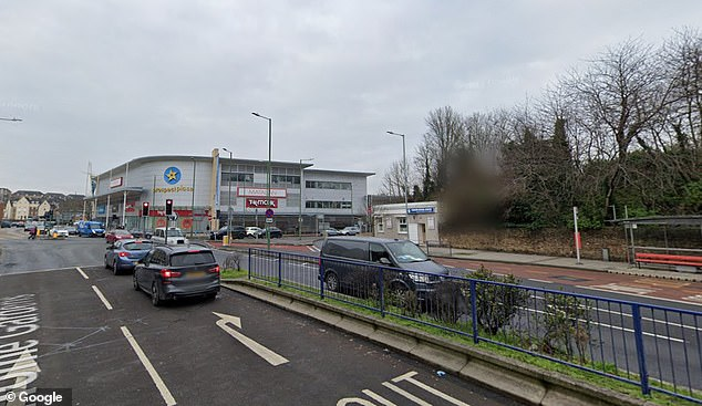 Five police officers were rushed to hospital after a crash in Home Gardens, Dartford (pictured)