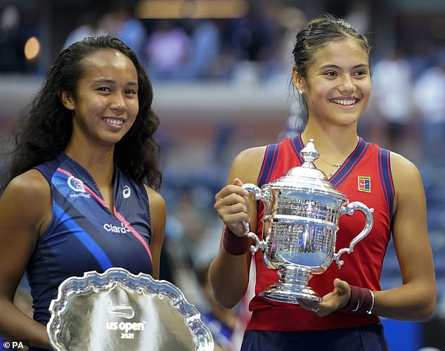 But she has bounced back on court after beating Leylah Fernandez (left) in the US Open final