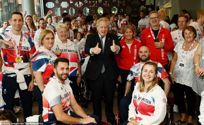The Prime Minister gave his trademark thumbs-up pose, shook hands with the sports stars and also made them chuckle at the meet-and-greet at Wembley Arena this afternoon