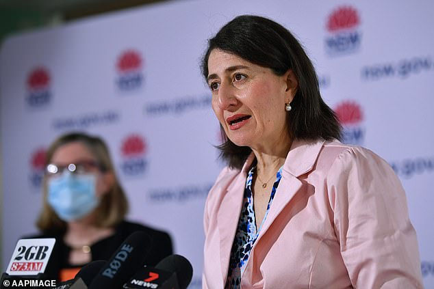 New South Wales made the first move to relax lockdown restrictions at midnight on Monday when it brought in 'picnic day' freedoms (Pictured, NSW Premier Gladys Berejiklian at Sunday's Covid briefing)