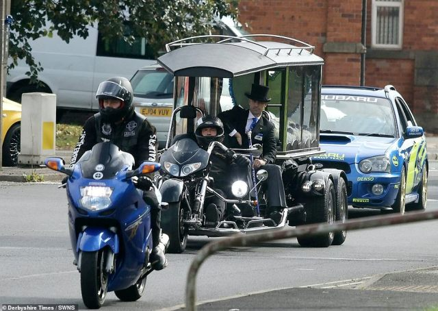 Mourners turned out to pay their respects to Logan as his body was carried through Staveley to Staveley Methodist Church on a Honda Goldwing trike hearse