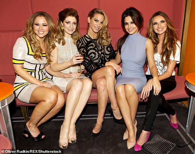 Old times: Nadine enjoyed more than a decade of chart success with Sarah in their hugely popular girl group (pictured in 2012, L-R:Kimberley Walsh, Nicola Roberts, Sarah Harding, Cheryl and Nadine Coyle)
