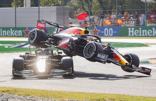 The two drivers took each other out as they tussled for position in the latest dramatic twist in their championship tussle
