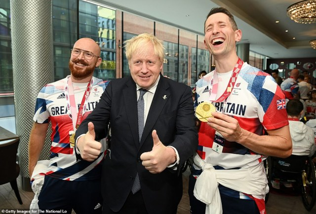 The Prime Minister gave his trademark thumbs-up pose, shook hands with the sports stars and also made them chuckle at the meet-and-greet at Wembley Arena this afternoon ahead of a mega-concert to celebrate Britain's astonishing success at the Games