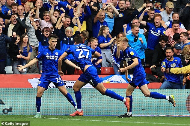 Substitute Rubin Colwill's (No 27) brace saw Cardiff turn the game on its head after the break
