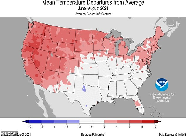 Overall, the summer of 2021 in the mainland US was 2.6 degrees above average.