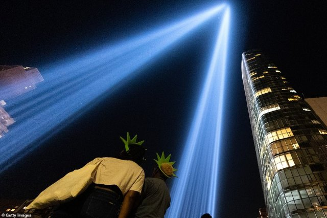 The light beams can reach 18,000 feet into the air on a clear night