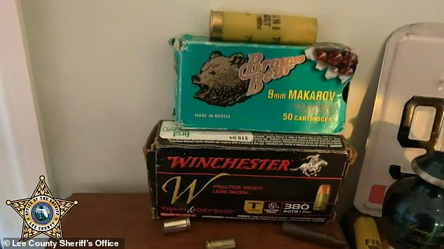 Pictured: Boxes of ammunition found at one of the boys' homes