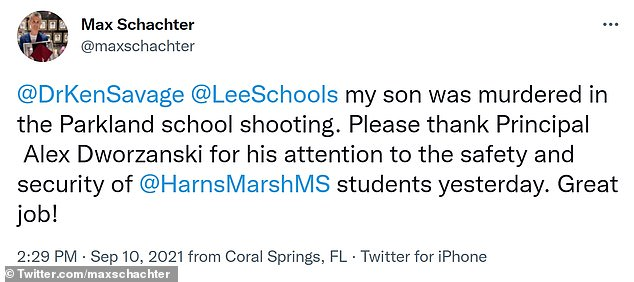 Max Schachter, whose son Alex was 14 when he was murdered in the 2018 Parkland shooting, also commended the police in a tweet