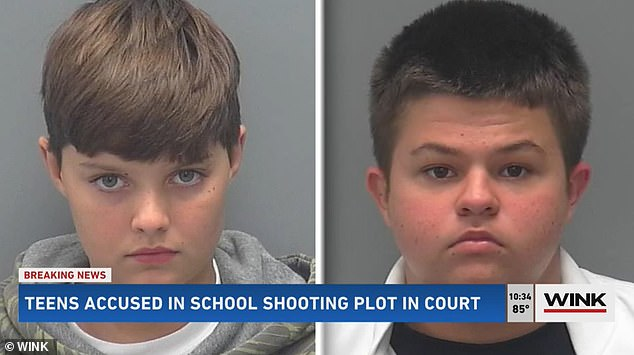 Connor Pruett, 13, (left) and Phillip Byrd, 14, are facing charges of conspiracy to commit a mass shooting